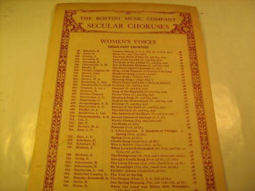 Vintage Sheet Music DARK EYES 1931 Choral Treasury of Folk-Songs BOSTON Z23c