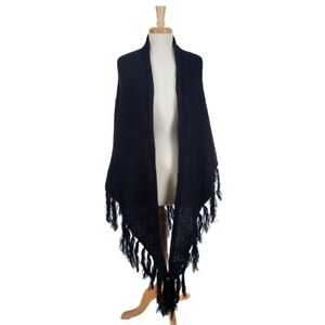 NWT! $76 Navy Blue Knit Wrap with Fringe Detail