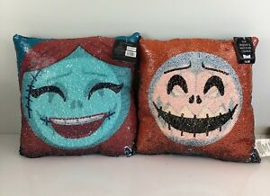Details About Disney Nightmare Before Christmas Sequin Pillow Pumpkin Jack Skellington Sally