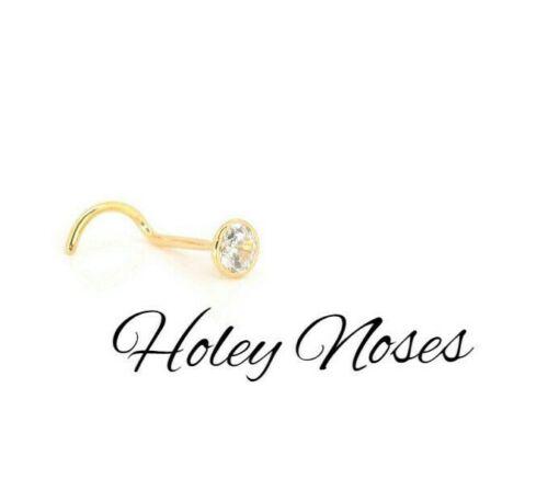 9ct Yellow Gold 0.10ct White Diamond Nose Stud Ring Pin Coneset body jewellery