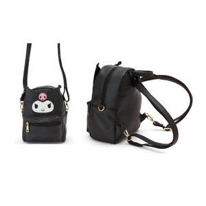 Kuromi-black-leather-2in1-leather-shoulder-bag-backpack-21x17x8cm-new