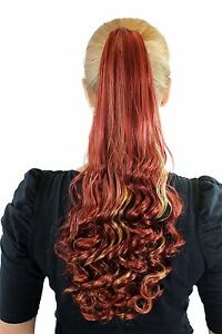 Postiche-Tresse-Rouge-avec-Meches-Blondes-Long-50cm-Boucle-Affiler-Extension