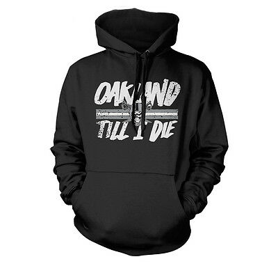 OAKLAND TILL I DIE THUG LIFE SILVER AND BLACK FAN COMPTON HIP HOP PARODY HOODIE