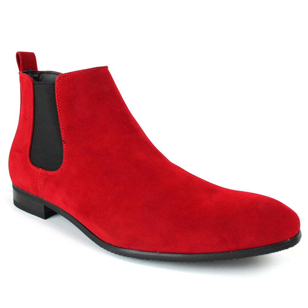 RED Suede Men's Chelsea Boots Ankle Dress Side Zipper Closure Almond Toe ÃZARMAN