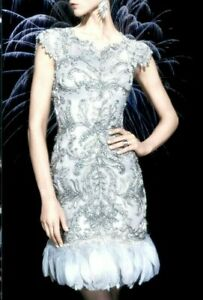 New-Marchesa-Couture-Embroidered-Feather-Grey-Silver-Cocktail-Dress-IT-40-US-4