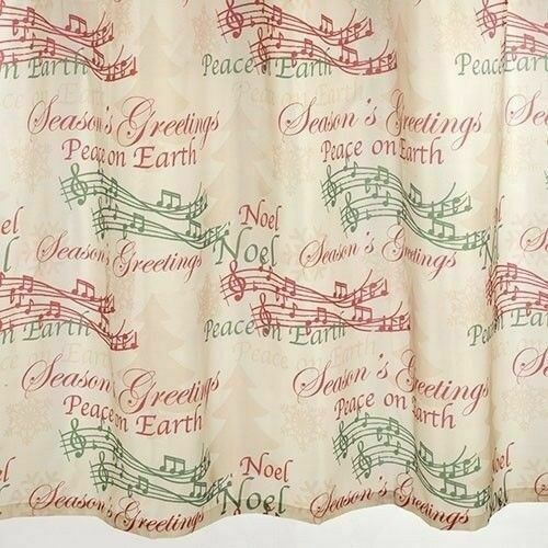 12 MUSIC NOTES HOOKS CHRISTMAS HYMN HOLIDAY SONGS THEME MUSIC SHOWER CURTAIN