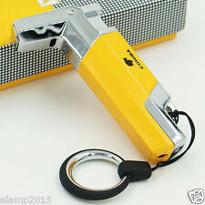 COHIBA Yellow & Silver Pistol Style TORCH JET FLAME CIGAR CIGARETTE LIGHTER New