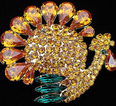 "RHINESTONE CORNUCOPIA FALL THANKSGIVING TURKEY BIRD PIN BROOCH JEWELRY 2"" $65+"