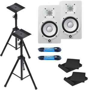 yamaha hs5 white powered studio monitor bundle w xlr cables pads stands new 702706620352 ebay. Black Bedroom Furniture Sets. Home Design Ideas