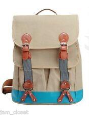 BEIGE Canvas Backpack School Bag PU Pleather Trim Two Tone! COOL!