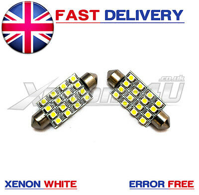 2x 42-44mm XENON WHITE 16 SMD LED INTERIOR FESTOON LIGHT BULBS ERROR FREE CANBUS