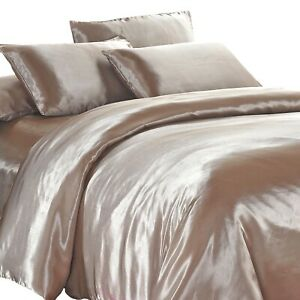 Satin Quilt Cover Champagne Latte King