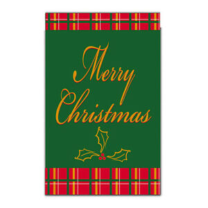 MERRY-CHRISTMAS-Embroidered-Script-Red-Plaid-2-SIDED-Holiday-Small-Banner-Flag
