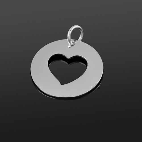 P82//4 Cut Out Heart Disc Pendant 20mm Sterling Silver 925 Pack of 1