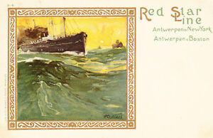 Antique-Postcard-Red-Star-Line-Antwerpen-New-York-Boston-Artist-H-Cassiors-A21