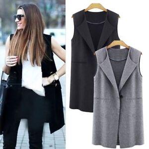 Womens-Ladies-Vest-Cardigan-Waistcoat-Sleeveless-Long-Blazer-Coat-Jacket-Outwear