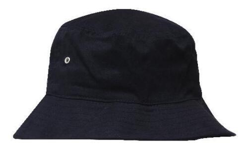 *CUSTOM*Personalised Embroidery Brushed BLACK Twill Beach Bucket Hat M//L-58cm