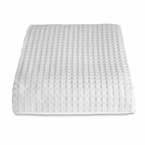 100-Cotton-Hotel-Quality-Waffle-Throw-Blanket-Double-175cm-225cm-in-White
