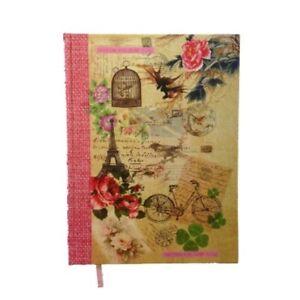 A4-Vintage-Shabby-Chic-Rigido-Notebook-Foderato-Parigi-Scuola-College-Casa
