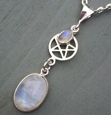 Solid 925 Sterling Silver AA Rainbow Moonstone Pentagram Pendant Pagan Wicca