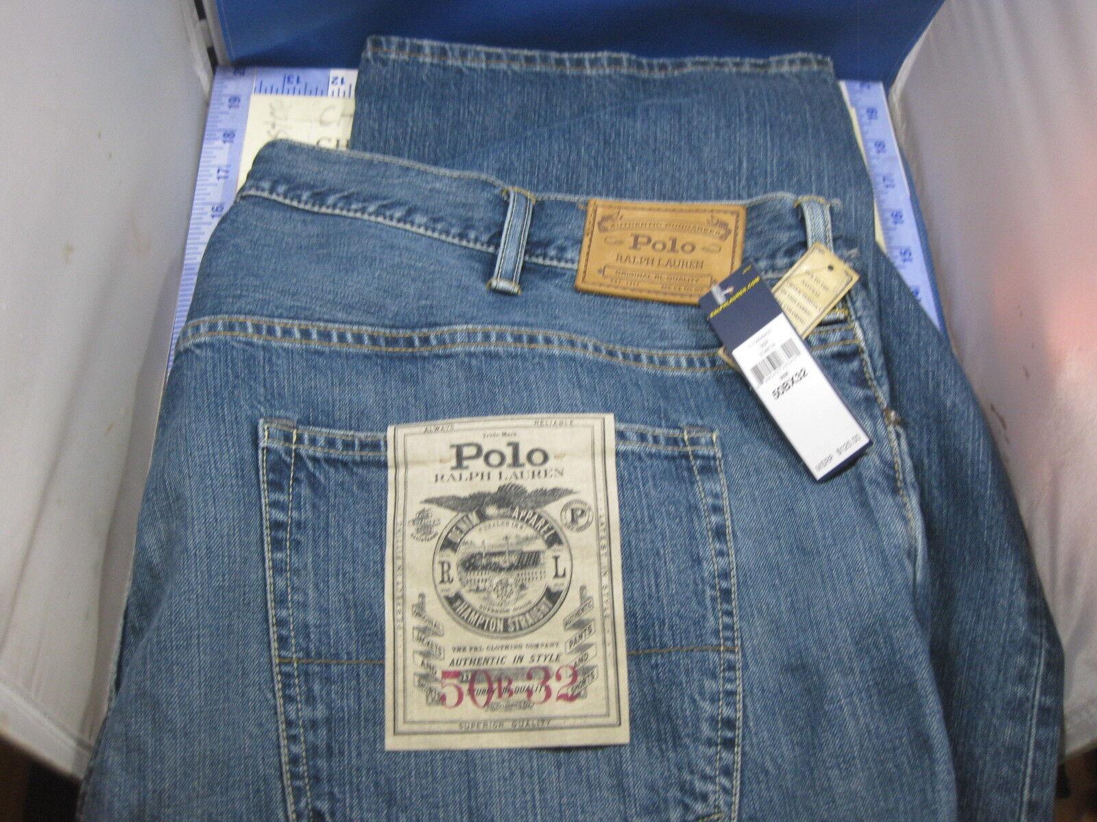 NEW Men's Polo Ralph Lauren  Hampton Straight  Denim Jeans 56B x 32 Big Tall