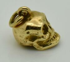 Amazing  antique English Victorian 14k solid gold skull charm.Rare!