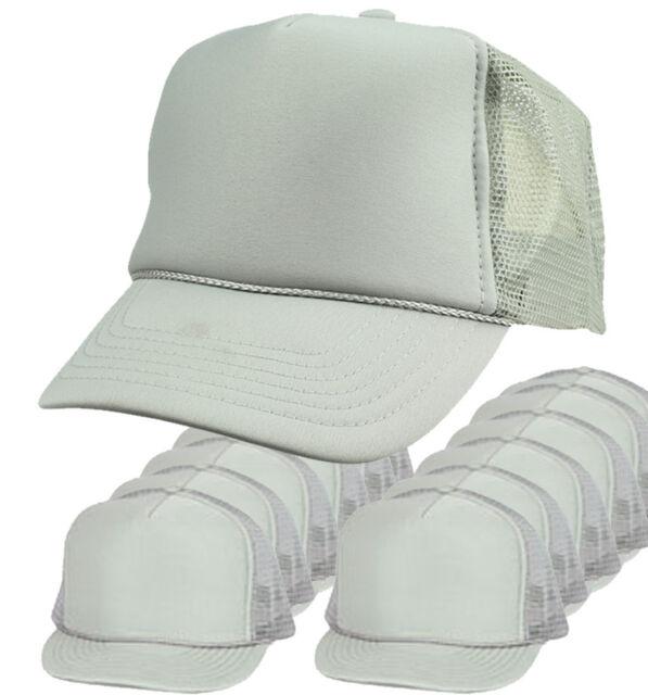 1cf663600b5 Wholesale Lot 12 Trucker Hats Solid Grey Gray Mesh Adjustable Snapback CAP  dozen