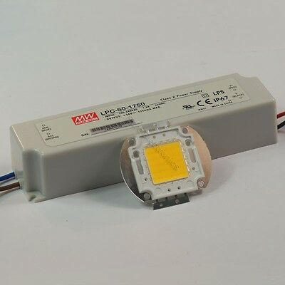 30W White High Power LED Light Lamp Panel Mean Well AC//DC LED Driver LPC-60-1050