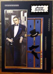 De Lujo Hecho a Mano Personalizado Grande A4 tarjeta de cumpleaños hombre Art Deco Sombrero Y Zapatos