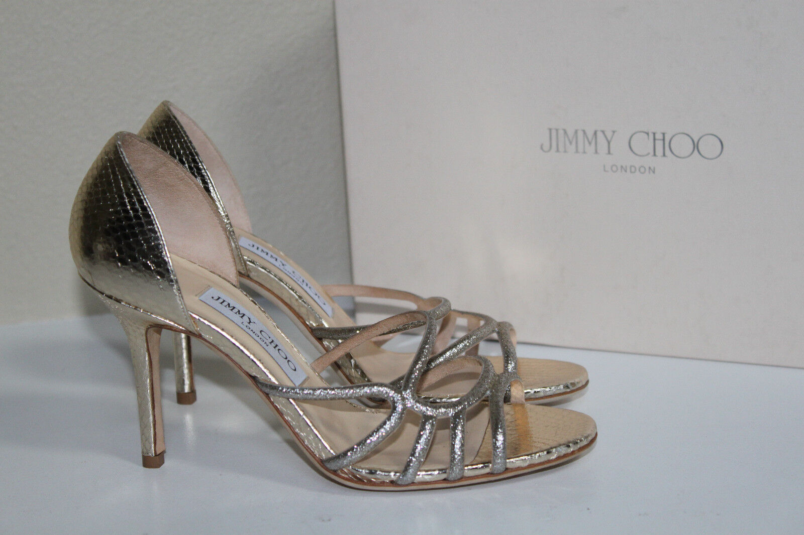 offerta speciale New sz sz sz 8.5   38.5 Jimmy Choo Straits oro Leather Open Toe Sandal Heel scarpe  negozio online