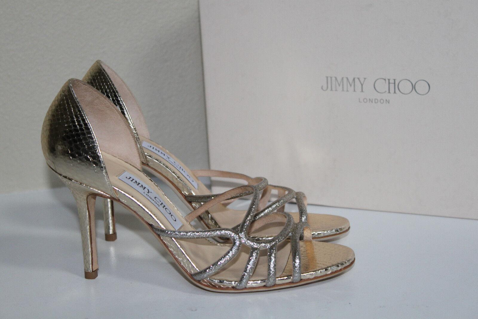 edizione limitata a caldo New sz sz sz 8.5   38.5 Jimmy Choo Straits oro Leather Open Toe Sandal Heel scarpe  sport dello shopping online