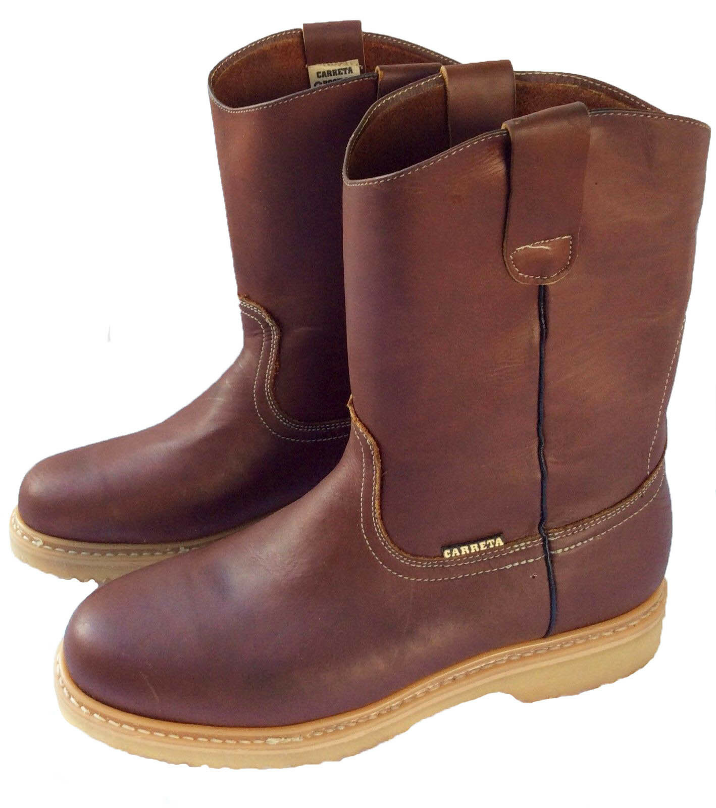 Men's Best Work Boots Pull On Leather Brown oil water slip resistant Size 7-13