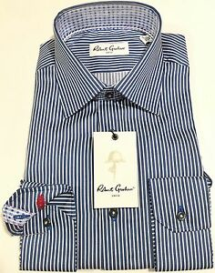 610b871dccc Robert Graham Size 15.5 39 Chico Mens Navy Color Striped Dress Shirt ...