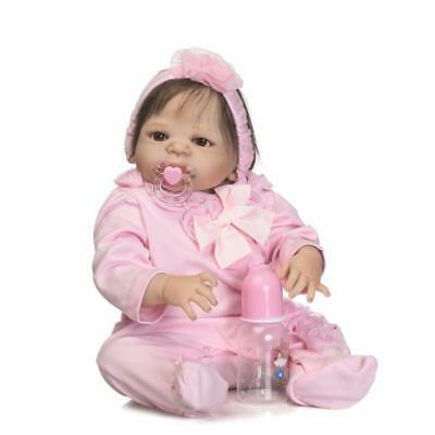"22/"" Full Body Girl Reborn Trottie Dolls Newborn Pink Vinyl Silicone Fiber Hair"