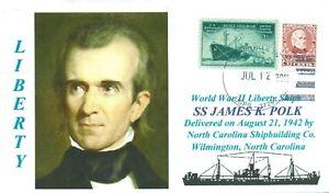 James-K-Polk-Liberta-Nave-Detto-Presidente-Polk-Colore-Ritratto-Handstamped-Pm