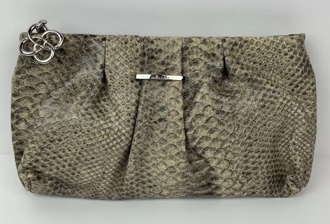 Stella & Dot NEW Leather Bag Clutch Snakeskin Gray La Coco Gift Evening Party
