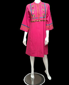pink embroidery white ethnic 60s maxi Vintage cotton Mexican dress bohemian hippie 70s
