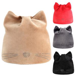UK  Children Kids Cute Cat Ears Rhinestone Beanie Cap Winter Soft ... c69af49940f7