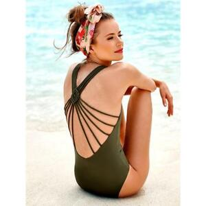 d5b0ee3bb5bf8 Women Strappy Back Swimwear One Piece Deep V Bathsuit Criss Cross ...