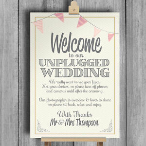 Unplugged No photos Wedding Sign Rustic Size A4  vintage craft brown script