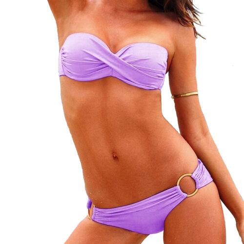 Donna Imbottito Push-Up spiaggia Bikini Set Costume Da Bagno Costume Da Bagno UK Vincenza