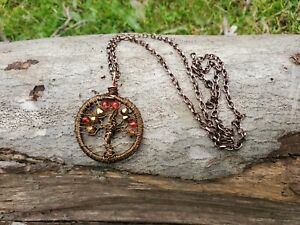 Handmade unique bronze tree of life wire wrapped necklace with red & gold beads