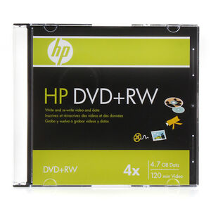 2-PK HP Logo 4x DVD+RW DVDRW ReWritable Blank Disc Media 4,7GB Slim Jewel Case