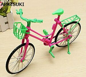 Plastic-Bike-Bicycle-With-Basket-For-Barbie-Dolls-Girl-039-s-Playing-Toy-best-Gifts