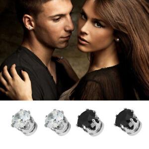 Hot-1Pair-Excellent-New-Unisex-Men-Women-Crystal-Magnet-Earrings-Stud-Jewelry-gt