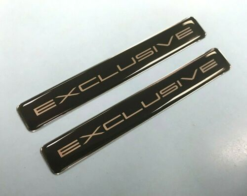 2 x Exclusive 96 mm Slimline chrome sur noir brillant en forme de dôme Gel Autocollant//Autocollant