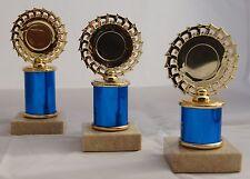 Pokal Serie 3 Pokale H.=16cm -18cm gold-bl. 49 Sportarten zur Auswahl mit Schild
