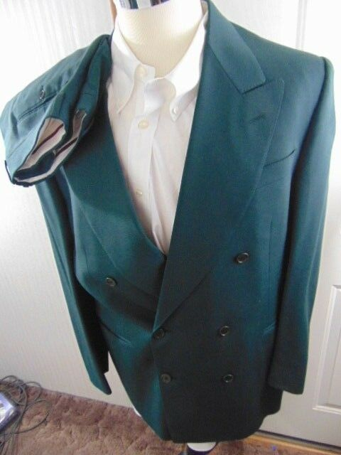 Mens 54R R US CANALI Milano Dark Green Double Breasted Suit Pleat  33x 34