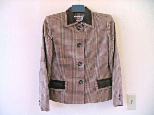 Vintage 80s Morgan Miller Emerald Green Crop Colar Block Jacket Blazer Gold Buttons sz 12