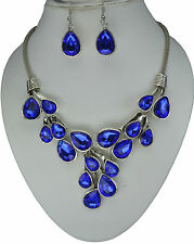 RF Blue Crystal Vintage Silver Chain Statement Necklace Earrings Set